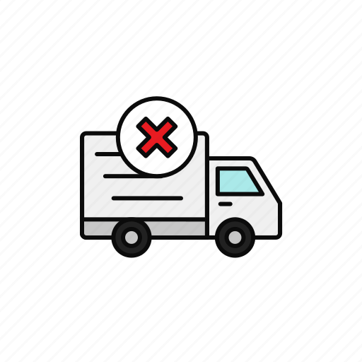 cross, delivery, failed, shipment, truck, wrong icon