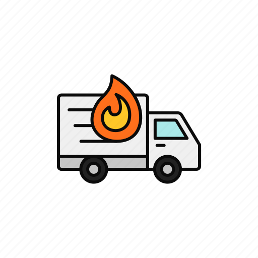 Broke, delivery, fire, hot, shipment, truck icon - Download on Iconfinder