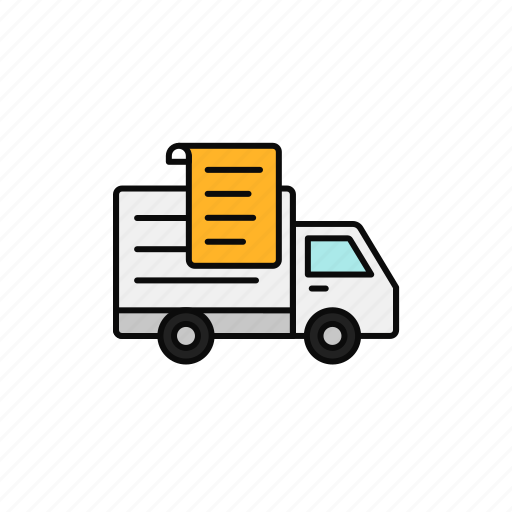 delivery, document, paper, receipt, shipment, truck icon