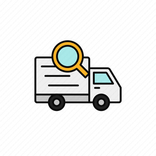 delivery, find, search, shipment, tracking, truck icon