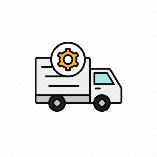 delivery, gear, repair, setting, shipment, truck icon