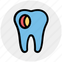 caries, dental, dentist, health, hole, stomatology, tooth icon