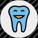 cartoon, dental, dentist, happy, healthcare, smiley, tooth icon