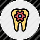 dental, dental care, dentist, dentistry, gear, service, tooth icon
