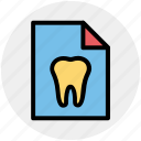 care, case, dental, list, paper, record, tooth icon