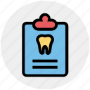 care, case, clipboard, dental, list, record, tooth icon