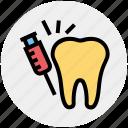 dental, dentist, drug, injection, syringe, teeth, vaccine icon