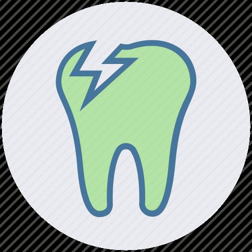 crack, dental teeth, dentist, stomatology, tooth icon