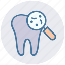 checkup, dental, dentist, dirt, magnifier, microbe icon