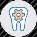 dental, dental care, dentist, gear, service, tooth icon