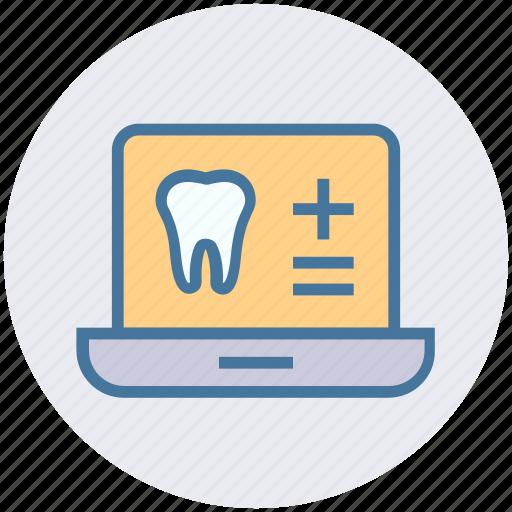 dental, health, healthcare, laptop, medicine, teeth icon