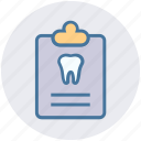 care, case, clipboard, dental, record, tooth icon