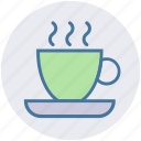 coffee, cup, hot coffee, mug, plate, tea icon