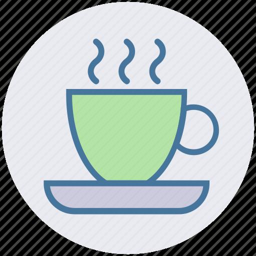 coffee, cup, hot coffee, mug, plate, tea icon