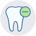 care, dental, hum, minus, remove, tooth icon