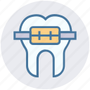 braces, dentist, medical, metal, straighten, tooth icon