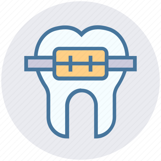 braces, dentist, medical, metal, straighten, tooth icon