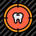dental, dentist, medical, target, tooth icon