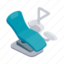 chair, dental, equipment, hygiene, isometric, medical, tool icon