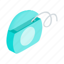 blue, care, dental, floss, hygiene, isometric, string icon