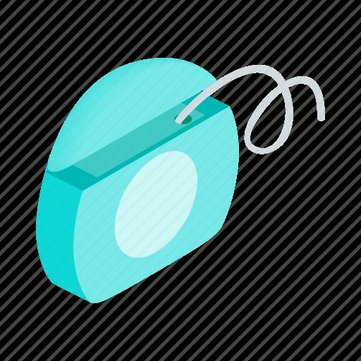 blue, care, dental, floss, hygiene, isometric, string icon