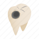 caries, cavity, dental, dentist, illness, isometric, pain icon