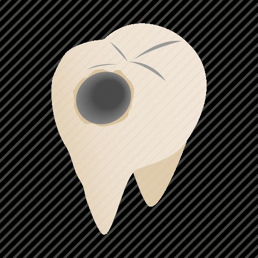 caries, cavity, dental, dentist, illness, isometric, pain icon