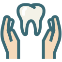 dental, dental health care, dentist, dentistry, hands, tooth, dental care icon