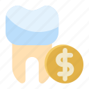 cost, dental, price, tooth icon