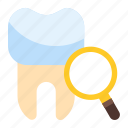 dental, diagnostic, search, tooth icon