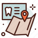 dental, gps, location, office icon