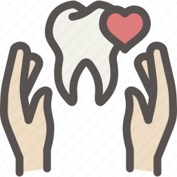 care, dental, dentist, hand, health, tooth, treatment icon