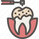 cleaning, decayed, dental, dentist, health, tooth icon