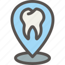 dental, dentist, health, localization, location, office, tooth icon