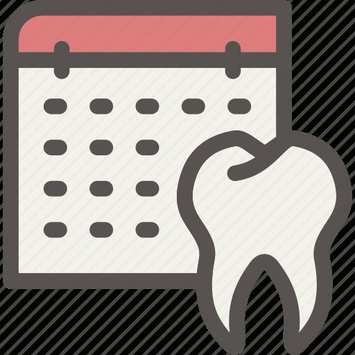 dental, dentist, health, schedule, tooth icon