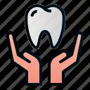 dental, dentist, hand, health, hospital, save, tooth icon