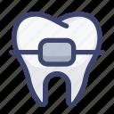 braces, dental, dentist, orthodontic, tooth icon