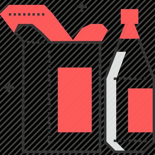 bottle, cardboard, design, package icon