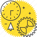 clock, cogs, content, cursor, gears, management icon