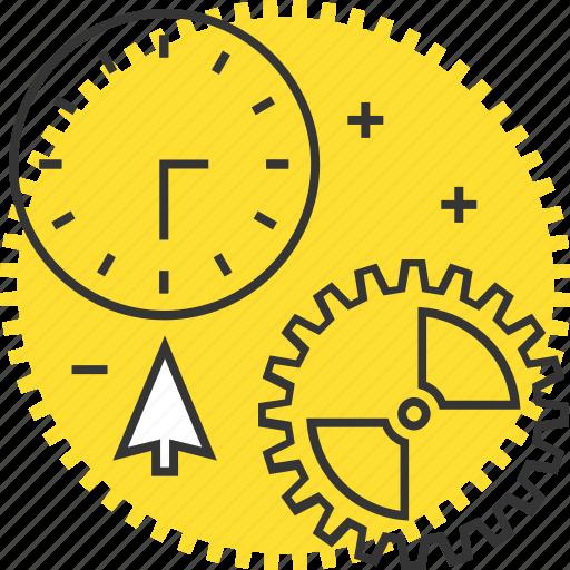 clock, cogs, content, cursor, gears, management icon