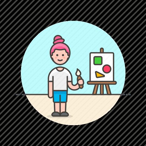 artist, brush, creative, design, paint, woman, work icon
