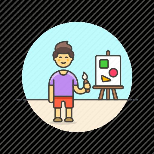 artist, brush, creative, design, man, office, paint, work icon