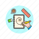 coffee, design, draw, golden, graphic, hand, ratio, ruler icon