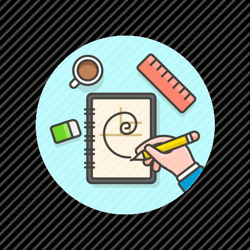 coffee, design, draw, golden, graphic, hand, ratio, ruler icon