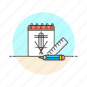 art, creative, design, graphic, office, pen, sketch, work icon
