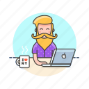 art, coffee, creative, designer, graphic, man, office, work icon