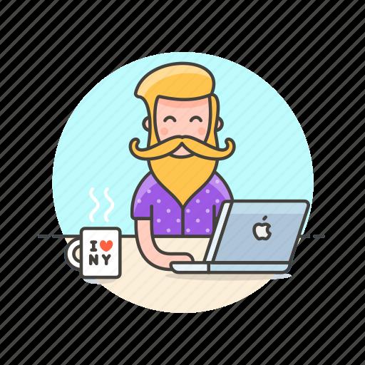 art, coffee, creative, designer, graphic, man, office, work icon