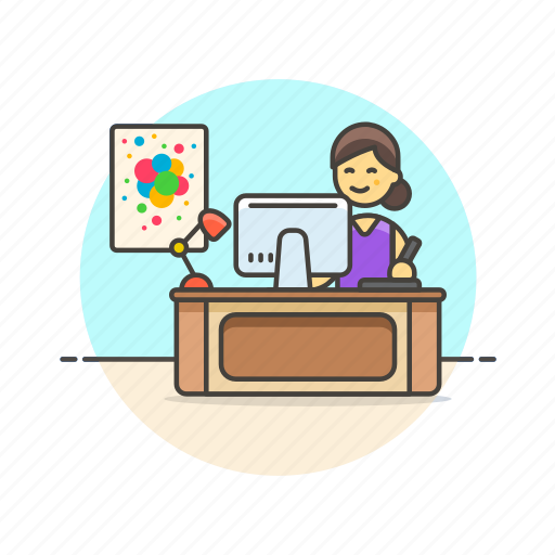 art, creative, designer, graphic, office, woman, workspace icon