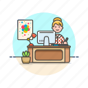 art, creative, designer, graphic, office, woman, workspace icon