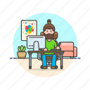 art, creative, designer, graphic, man, office, workspace icon